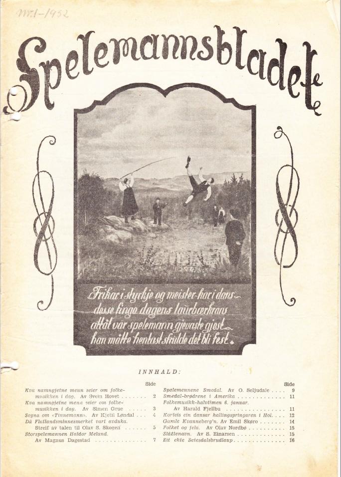 Spelemannsbladet, forside nr. 1,1952.